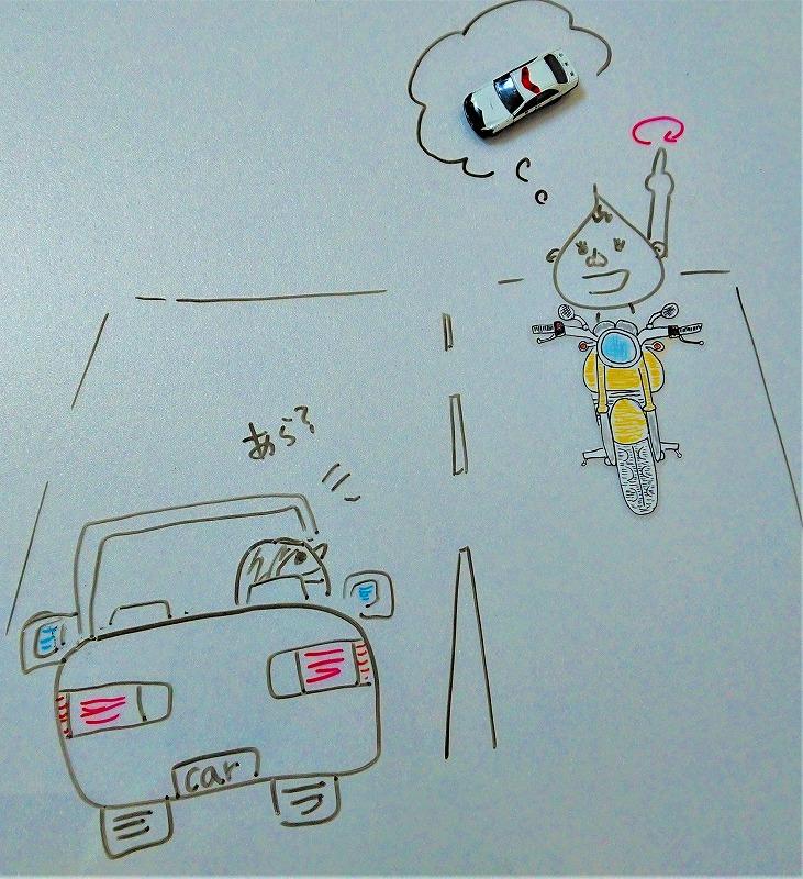 ネズミ捕りを知らせるバイクのハンドサイン