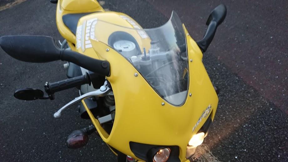 車検前にバーエンドミラーを付けていない非常にださいバイク
