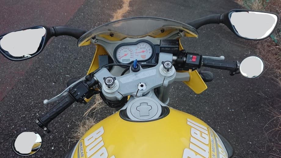 車検のために純正ミラーとバーエンドミラーをつけたとてもださいバイク