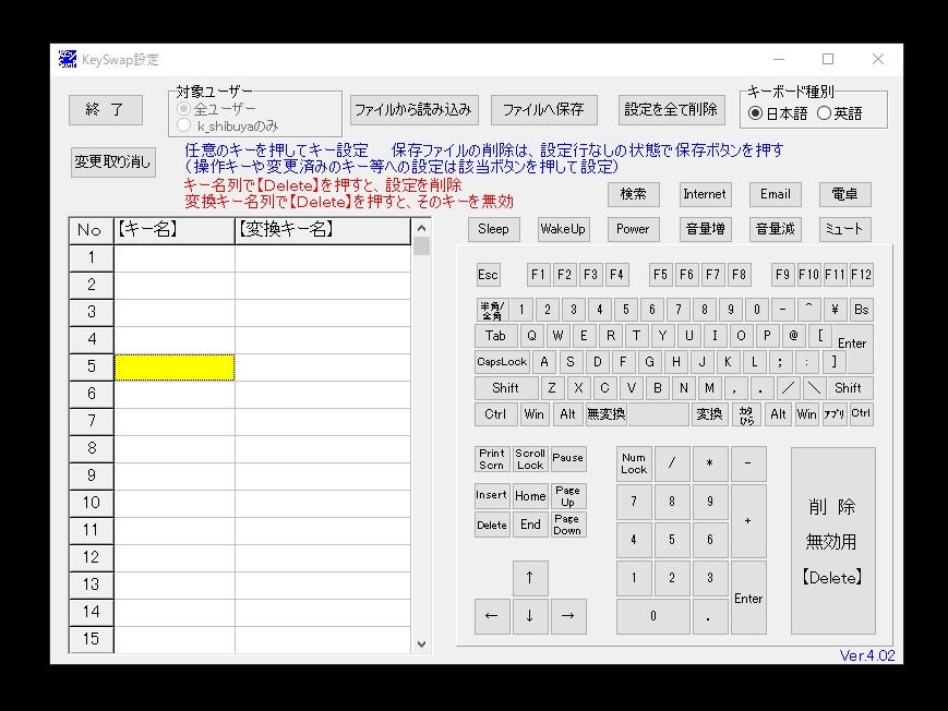 【KeySwap】の画面